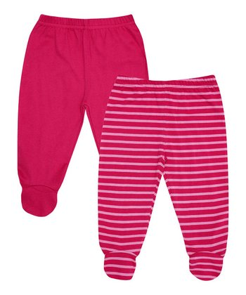 Cerise Stripe Footie Pants Set - Infant