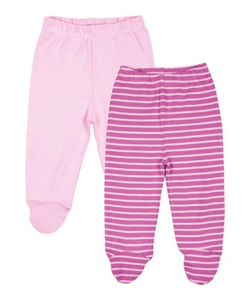 Pink Stripe Footie Pants Set - Infant