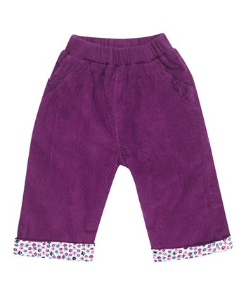 Plum Corduroy Cuff Pants - Infant