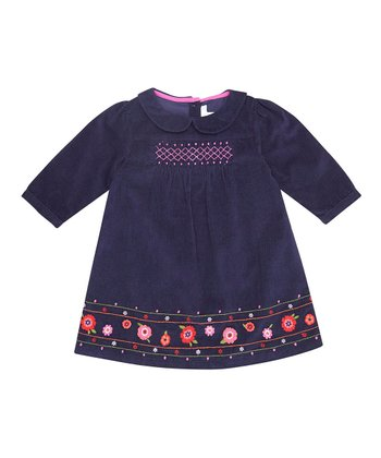 Navy Embroidered Corduroy Dress - Infant, Toddler & Girls