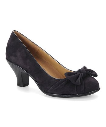 Dark Purple Bow Suede Samantha Pump