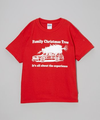 Red 'Family Christmas Tree' Tee - Kids & Adult