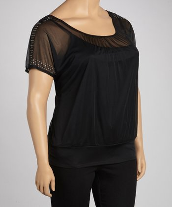 Black Sequin Cap-Sleeve Top - Plus