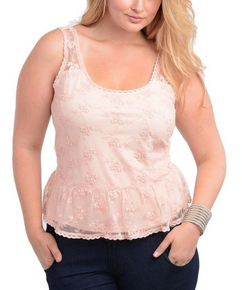Blush Lace Mesh Peplum Top - Plus