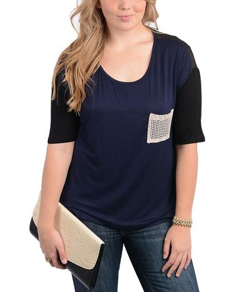 Navy & Black Color Block Mesh-Pocket Top - Plus