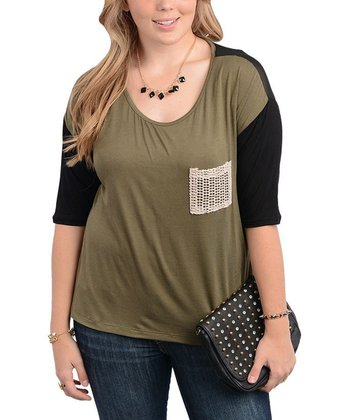 Olive & Black Color Block Mesh-Pocket Top - Plus