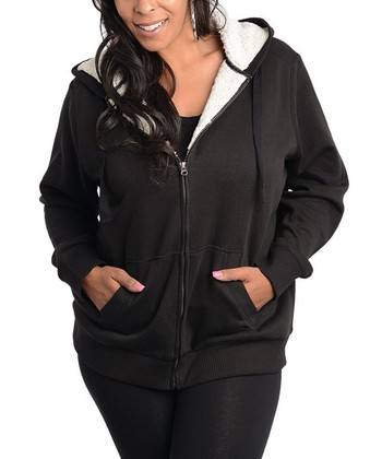 Black Faux Shearling Hooded Zip-Up Jacket - Plus