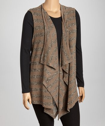 Brown & Gray Stripe Drape Vest - Plus