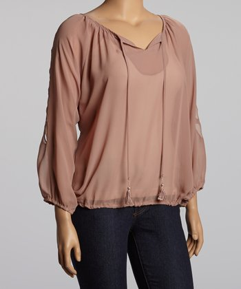 Mocha Cutout Peasant Top - Plus