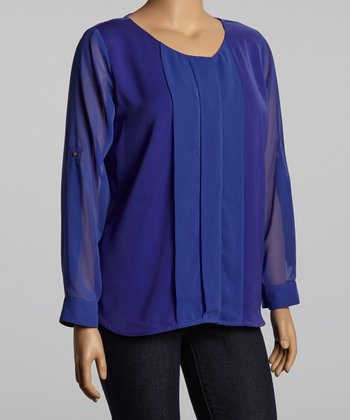 Blue Pleated Top - Plus