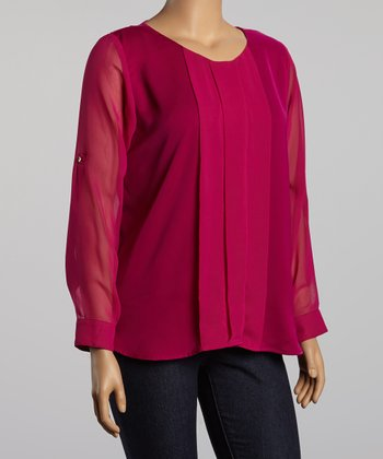Magenta Pleated Top - Plus