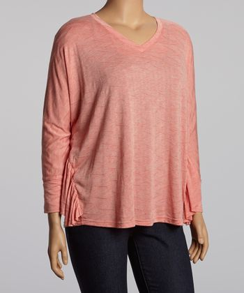 Coral Ruffle Dolman Top - Plus