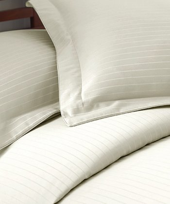 Ivory Stripe 800-Thread Count Duvet Set