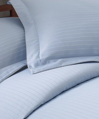 Sky Blue Stripe 800-Thread Count Duvet Set