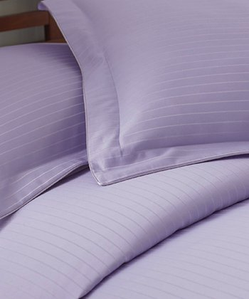 Lavender Stripe 800-Thread Count Duvet Set