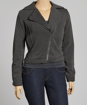 Gray Fleece Biker Jacket - Plus