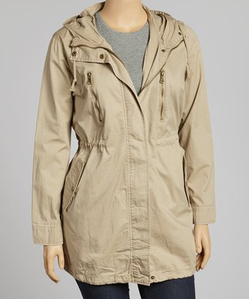 Khaki Hooded Military Jacket - Plus