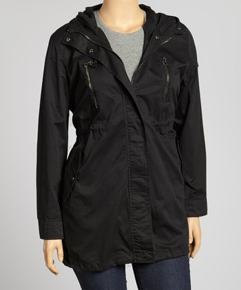 Black Hooded Military Jacket - Plus