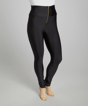 Black High-Waist Shimmer Leggings - Plus