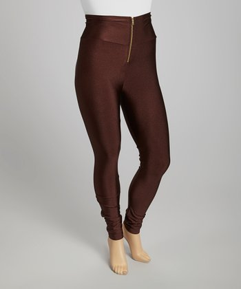 Brown High-Waisted Shimmer Leggings - Plus
