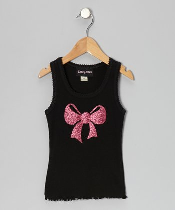 Black & Hot Pink Glitter Bow Tank - Infant, Toddler & Girls