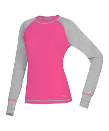 Pink Glow & Gray Heather Performance Long-Sleeve Top