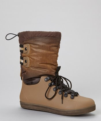 Tan Eliza Lace-Up Boot