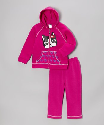 Raspberry Cat Zip-Up Hoodie & Sweatpants - Infant