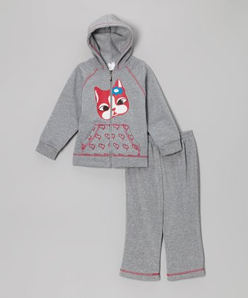 Gray Cat Zip-Up Hoodie & Sweatpants - Infant