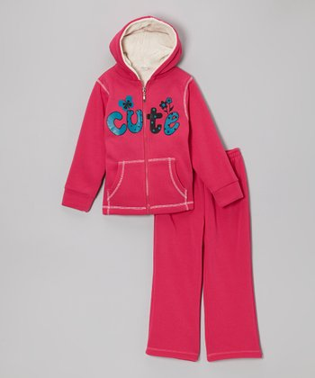 Fuchsia 'Cute' Zip-Up Hoodie & Sweatpants - Toddler & Kids