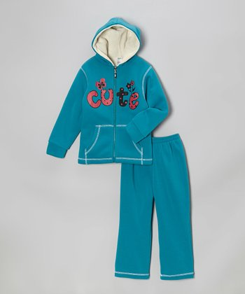 Teal 'Cute' Zip-Up Hoodie & Sweatpants - Toddler & Kids