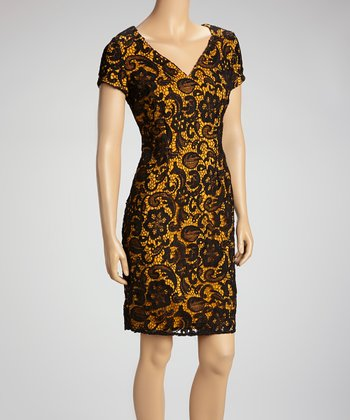 Mustard & Black Lace Overlay V-Neck Sheath Dress