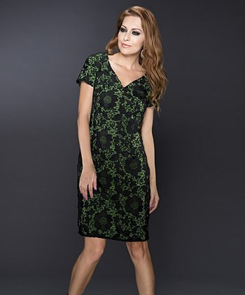 Green & Black Lace Overlay V-Neck Sheath Dress
