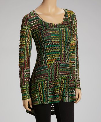 Green & Lime Stripe Perforated Tunic