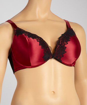 Beet Red Satin Plunge Bra - Plus