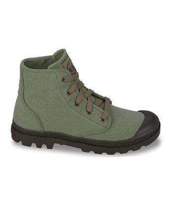 Palladium Green Pampa Hi Canvas Boot
