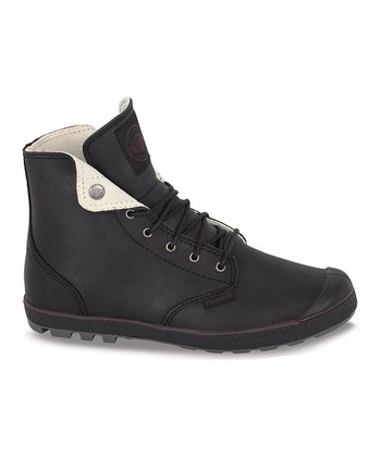 Black & Metal Slim Snaps Leather Boot