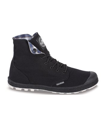 Black & Off-White Slim Snaps Hi-Top Sneaker