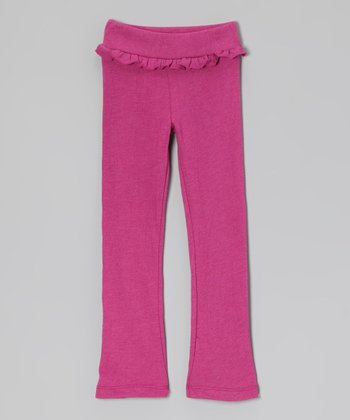 Fuchsia Ruffle Pants - Girls