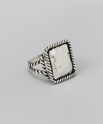 Silver Textured Square Ring