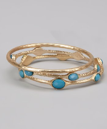 Turquoise & Gold Bangle Set