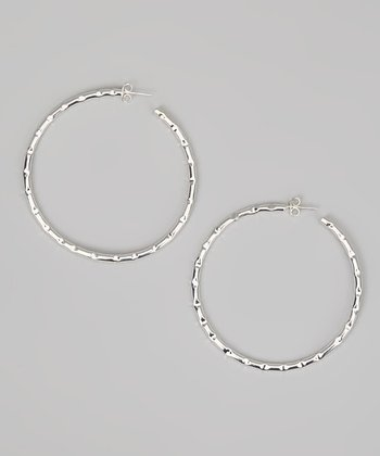 Silver Dimpled Hoop Earrings