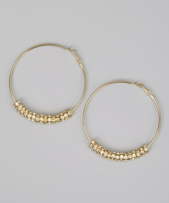 Gold Sparkle Hoop Earrings