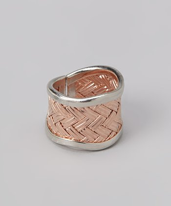 Silver & Bronze Thatched Ring