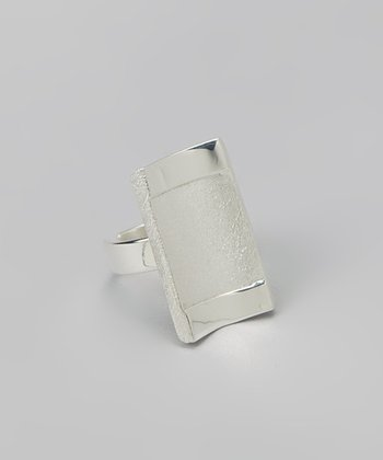 Silver Textured Geometric Ring