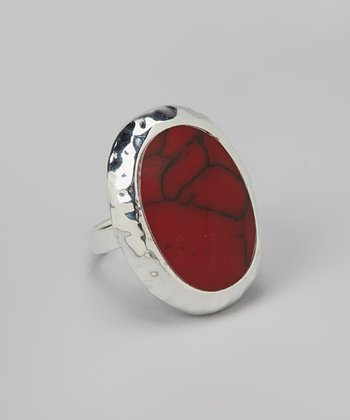Silver & Red Oval Ring