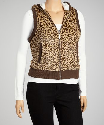 Brown Cheetah Hooded Vest - Plus