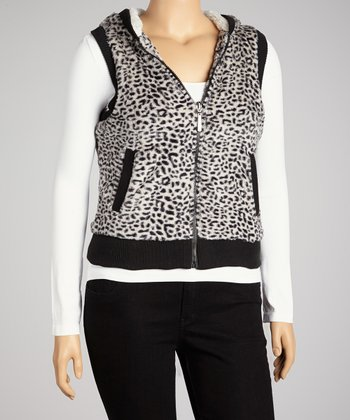 Black & White Cheetah Hooded Vest - Plus