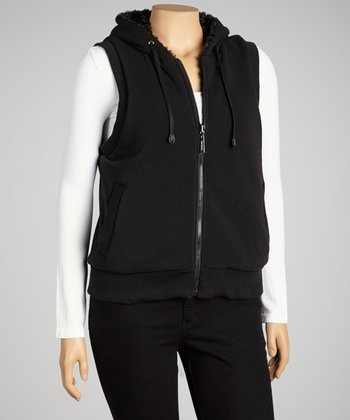 Black Reversible Hooded Vest - Plus