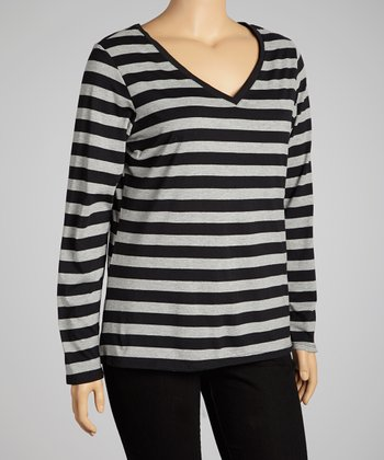 Ebony & Light Heather Gray Stripe Scoop Neck Top - Plus